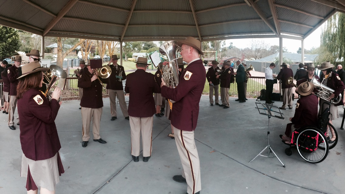 Warming up: the band prepares for the static march